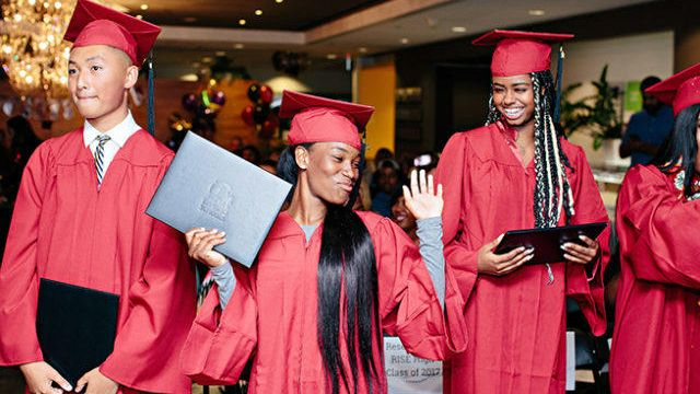 On the RISE: First graduating class of award-winning high school for foster and homeless youth get t